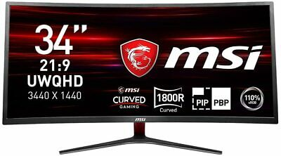 MSI Optix MAG341CQ Curved Gaming Monitor 34 Inch (1348130) FAST & FREE DELIVERY • 349.99£
