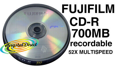 10 FUJI CD-R BLANK RECORDABLE DISCS SPINDLE 52x 700MB  • 7.66£