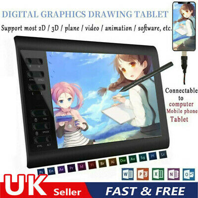 Graphic Tablet Drawing Pad & Digital Pen Quick Reading Pressure Sensing 10x6  • 42.25£