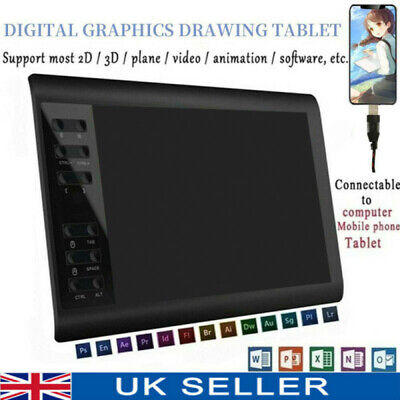 10x6  Digital Graphics Drawing Tablet Artist Board Pad W/ 8192 Pen Pressure UK • 40.89£