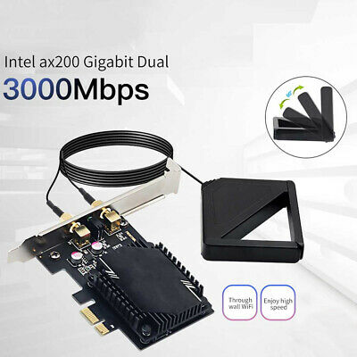 3000Mbps WiFi6 AX200 Wireless Network Card Antenna PCIE Signal Dual Frequency UK • 9.25£