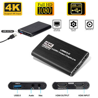 Audio Game Video Capture Card, HDMI USB3.0 4K 1080P Portable Video Converter • 37.99£