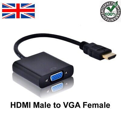 HDMI INPUT To VGA OUTPUT HDMI To VGA Converter Adapter For PC DVD TV Monitor UK • 4.99£
