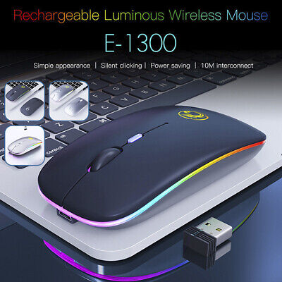 Slim Rechargeable Wireless Bluetooth/USB RGB LED Mouse For Tablet PC Andoid IPad • 8.19£