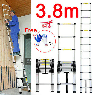 3.8M Portable Heavy Duty Telescopic Ladder Multi-Purpose Aluminium Extendable // • 65.49£