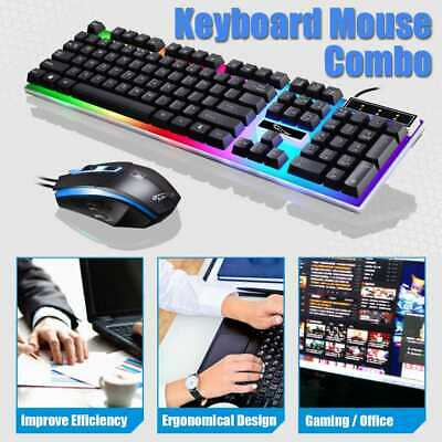Gaming Keyboard Mouse Set RGB LED Wired USB For PC Laptop PS4 Xbox One 360 LOL • 10.99£