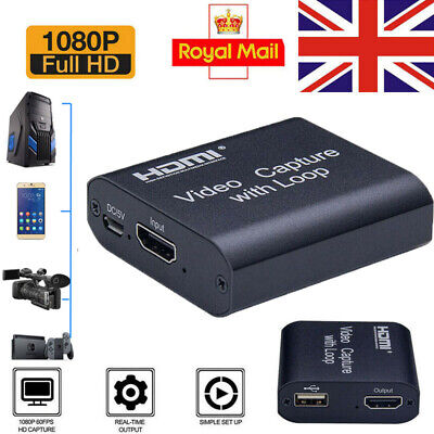 4K HD 1080P 60fps HDMI Video Capture Card USB 2.0 Mic Game Record Live Streaming • 8.99£