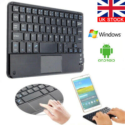 Mini Bluetooth Wireless Keyboard With Touchpad Mouse  For Android IOS Tablet • 14.99£