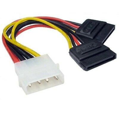 Molex To 2 SATA Dual Power Y Splitter Adaptor Cable Lead 2 Way 4 Pin -15 Pin • 1.95£