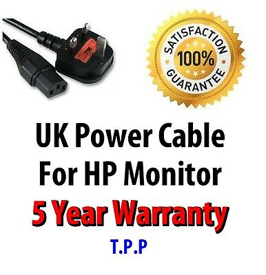 NEW UK Mains Power Lead Cable Cord For HP Monitor  LCD Screen Computer Display • 6.95£
