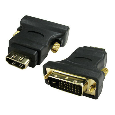 HDMI To DVI Adaptor DVI-D Digital Monitor Cable Lead Converter GOLD Adapter • 2.99£