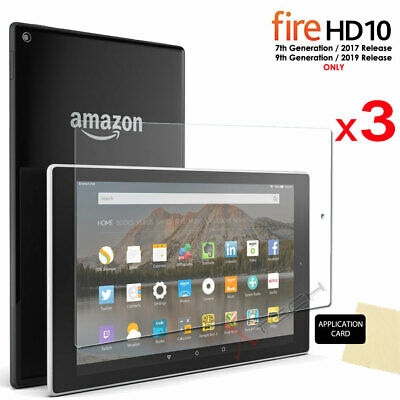 3x Screen Protector Covers For Amazon Fire HD 10 9th / 7th Generation 2019 /2017 • 2.95£