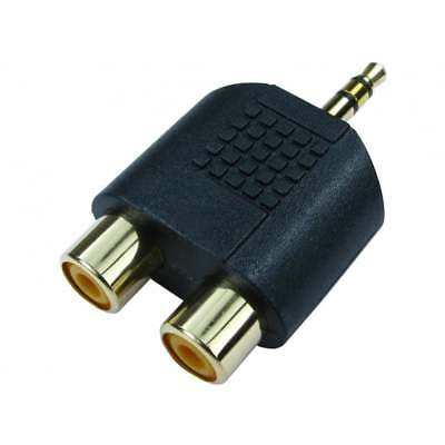 3.5mm Jack To 2 RCA Twin Phono Adaptor Y Splitter Stereo Male 2 X Female GOLD • 1.59£