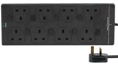 5m Switched 8 Gang Mains Extension Lead 8 Way UK Power Sockets BLACK • 15.92£