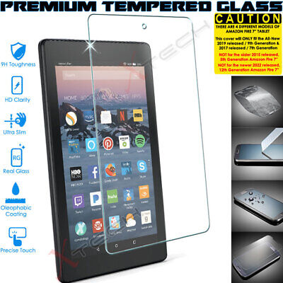 100% TEMPERED GLASS Screen Protector For Amazon Fire 7  9th Generation 2019 • 4.95£