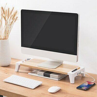 White Birch Monitor Riser - With 2  USB / 1 Charge Port • 39.99£
