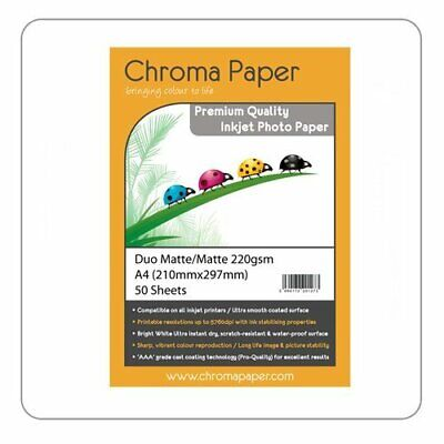 Chroma Paper - A4 Double Sided Matte/Matte Pro Inkjet Photo Paper 220gsm 50 Pack • 5.96£