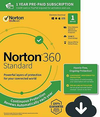 NEW Norton 360 Standard 2020 1 Device 1 PC 1 Year + Secure VPN Internet Security • 8.75£