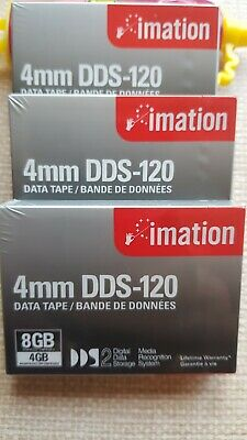3x Imation 4mm DDS-120 Data Tapes New Sealed • 6.99£