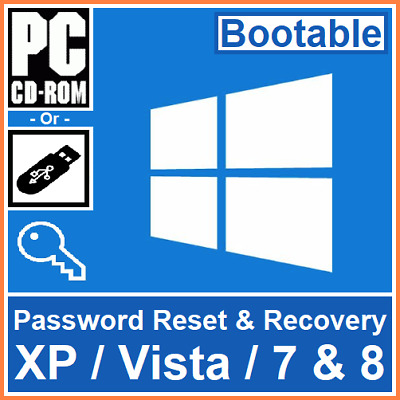 Bootable Windows XP, Vista, 7 And 8 Password Reset, Recovery Or Remove Software • 7.95£