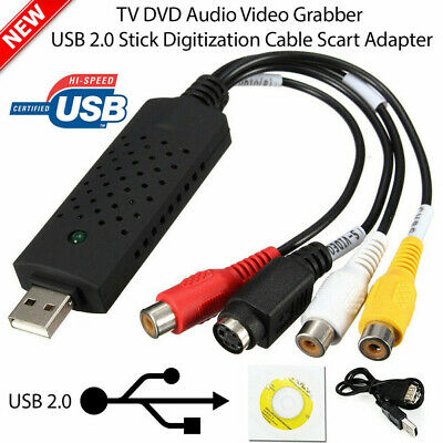 USB 2.0 VHS VCR To Digital Converter Video Capture Card For Win 7/8/10 XP Vista • 5.99£