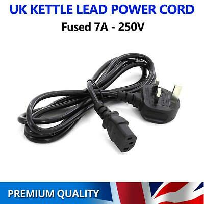 3 Pin UK Kettle Lead Power Cable Plug Cord PC TV For Samsung LG Sony Panasonic • 5.95£