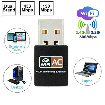600 Mbps USB Dual Band 2.4-5ghz Wireless Adapter WiFi Dongle 802.11 AC Laptop PC • 5.99£