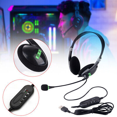 USB Headset Computer Headphone With Microphone Noise Cancelling Office Headset • 9.36£