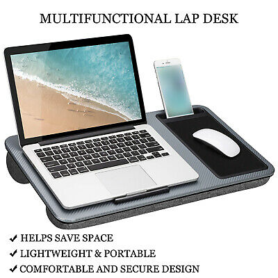 Multi Purpose Home Office Lap Desk + Mouse Pad And Phone Holder - Silver Carbon • 19.95£