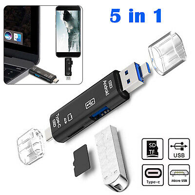 Multifunction 5in1 USB 3.0 Type C Micro USB SD TF Memory Card Reader OTG Adapter • 4.69£