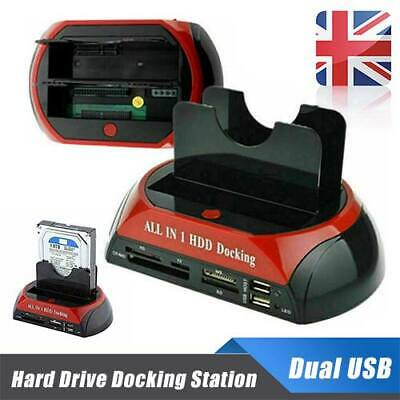 HDD Docking Station 2.5  3.5'' IDE SATA+Dual USB Clone Hard Drive Card Reader UK • 17.49£