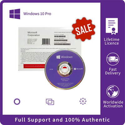 GENUINE ORIGNAL WINDOWS 10 Professional LICENCE &DVD 64/32 BIT SEALED PACKAGE • 25.99£