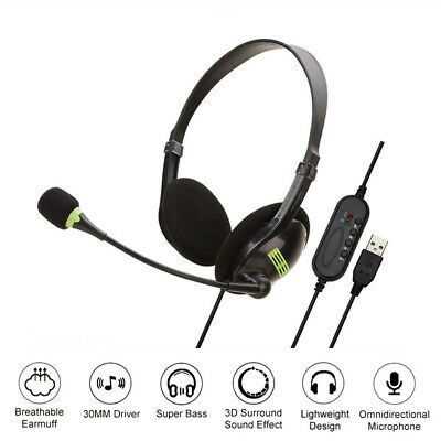 Upgrade USB Headset With Microphone Noise Cancelling PC Headset Lightweight NEW • 8.79£