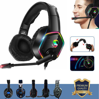 Gaming Headset Mic Headphones For PC Laptop PS4 Slim Xbox One X Wired Universal • 19£