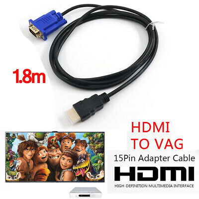 1.8m HDMI To VGA Cable HD-15 D-SUB Video Adapter Converter Cable For PC Monitor • 3.98£