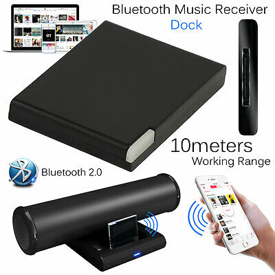 30 Pin Wireless Bluetooth A2DP Music Receiver Audio Adapter Dock For IPhone IPod • 5.79£