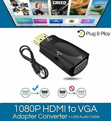 HDMI TO VGA Adapter Converter Male To Female Audio For PC Laptop HDTV DVD  • 2.90£