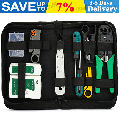 Ethernet Network Kit RJ45 LAN Cable Tester Crimping Punch Tool Connectors Boots • 9.98£