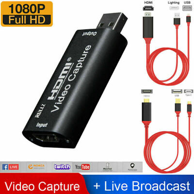 HDMI To USB2.0 Video Capture Card 1080P Recorder IPhone Zoom/Video Live Stream • 15.99£