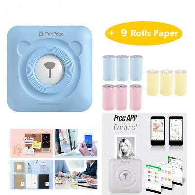 PeriPage Mini Portable Pocket Wireless BT Paper Photo Printer With 9 Rolls Paper • 35.28£
