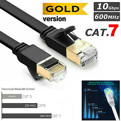 Cat 7 FLAT Ethernet Network Lead LAN Patch Cable RJ45 For PS5 Xbox Series X Lot • 5.45£