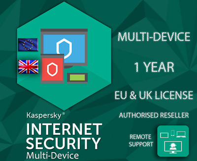 Kaspersky Internet Security 1/3/5/10 Multi Device Lot Eu & Uk Genuine License • 10.69£