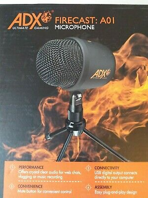 ADX Firecast A01 Microphone With Tripod Adjustable Stand Noise Cancellation • 22.99£