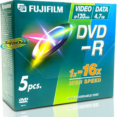 5 Fuji Blank Recordable Discs Dvd-r Dvd Dvdr In Cases • 8£