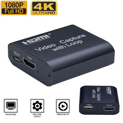 4K HD 1080P 60fps HDMI Video Capture Card USB 2.0 Mic Game Record Live Streaming • 11.88£