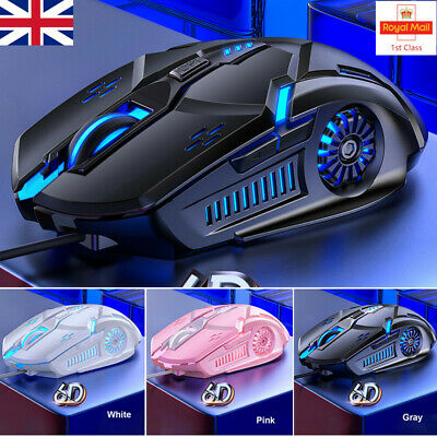 RGB LED Laser USB Mice Optical Wired Gaming Mouse For Laptop PC Computer UK • 8.59£