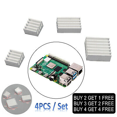 4PCS/Set Radiator Cooler Kit Aluminum Heatsink For Raspberry Pi 4B With Sticker • 2.49£