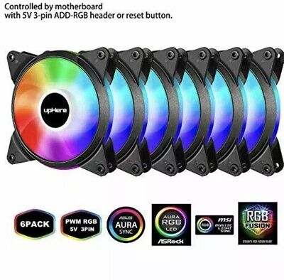 UpHere 5V PWM ARGB LED 120mm Case Fan For PC Cooling Super Silent 5V 6 Pack • 37.99£