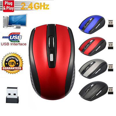 2.4GHz Wireless Mouse 1600DPI Cordless Optical Mice USB Receiver For PC Laptop • 6.98£
