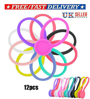 12Pcs Magnetic Silicone Cord Organisers Clips Earphone Wire Wrap Cable Ties Bowl • 5.39£